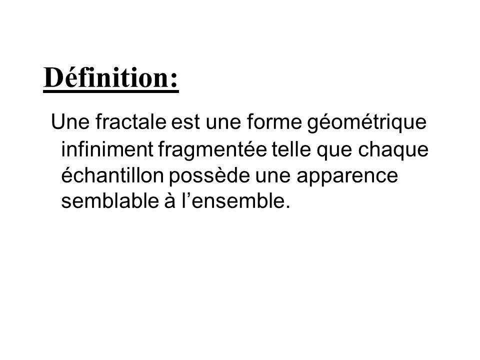 Définition: Une fractale est une forme géométrique infiniment fragmentée telle que chaque échantillon possède une apparence semblable à l'ensemble.