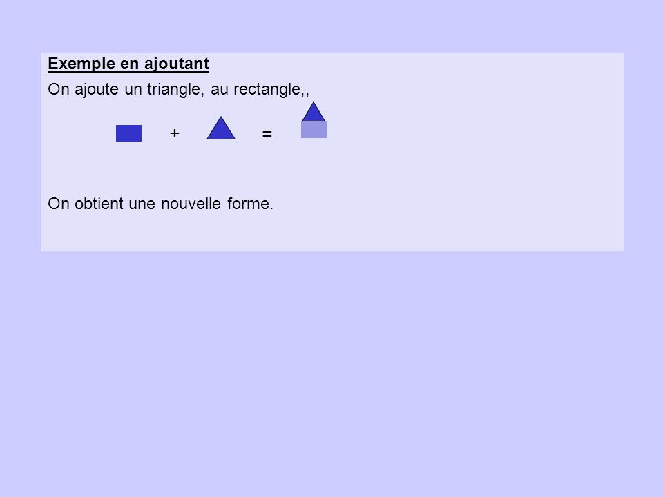 Exemple en ajoutant On ajoute un triangle, au rectangle,, On obtient une nouvelle forme. + =