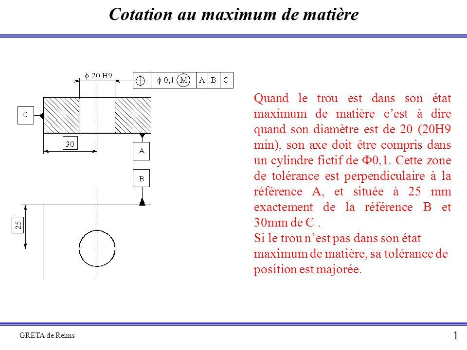 Cotation au maximum de matière GRETA de Reims 11 Ap 1 : Détermination des tolérances (17H12)/2 t2 Zone de tolérance du trou  17 t1 Zone de tolérance du trou taraudé (16h12)/2 j3 Jeu entre goujon et taraudage JA Jeu nécessaire au montage JA = -(16h12)/2 + j3/2 – t1/2 + E – (70H8)/2 + (70h7)/2 – E –t2/2 + (17H12)/2 JAm = -(16h12)M/2 + j3m/2 – t1/2 + E – (70H8)M/2 + (70h7)m/2 – E –t2/2 + (17H12)m/2 0 = [(17H12)m/2 -(16h12)M/2] + j3m/2 – t1/2 + [(70h7)m/2 – (70H8)M/2] –t2/2 0 =[ J(2-3)m + J(1-3)m – t1 + J(1-2)m – t2]/2  t1 + t2 = J(2-3)m + J(1-3)m + J(1-2)m  t i =  J min E (70h7)/2 E (70H8)/2 2 1 3