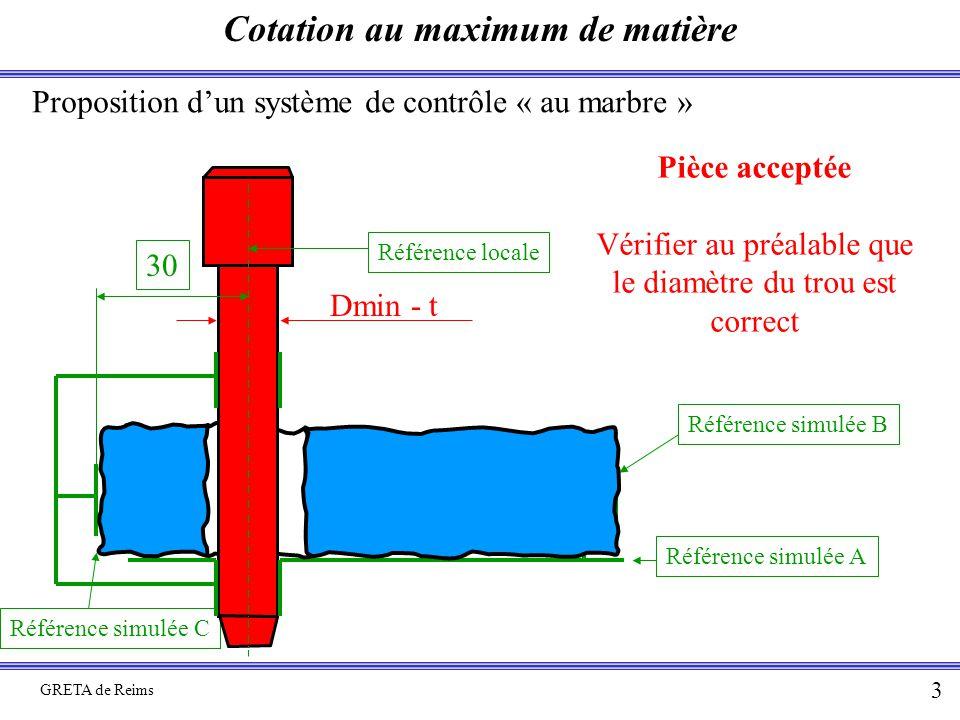 Cotation au maximum de matière GRETA de Reims 3 Proposition d'un système de contrôle « au marbre » Référence simulée A Référence simulée C Référence simulée B Pièce acceptée Vérifier au préalable que le diamètre du trou est correct Dmin - t Référence locale 30