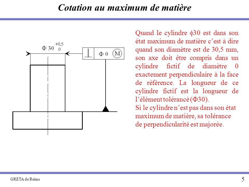 Cotation au maximum de matière GRETA de Reims 5 Quand le cylindre  30 est dans son état maximum de matière c'est à dire quand son diamètre est de 30,5 mm, son axe doit être compris dans un cylindre fictif de diamètre 0 exactement perpendiculaire à la face de référence.