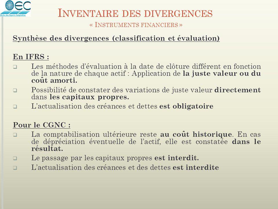 Synthèse des divergences (classification et évaluation) En IFRS :  Les méthodes d'évaluation à la date de clôture différent en fonction de la nature