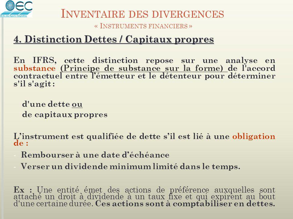 4. Distinction Dettes / Capitaux propres En IFRS, cette distinction repose sur une analyse en substance (Principe de substance sur la forme) de l'acco