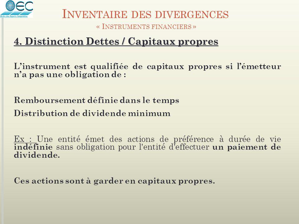 4. Distinction Dettes / Capitaux propres L'instrument est qualifiée de capitaux propres si l'émetteur n'a pas une obligation de : Remboursement défini