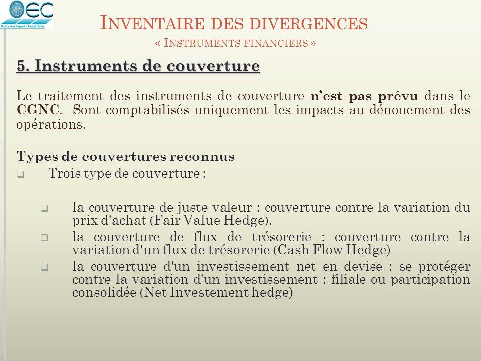 Le traitement des instruments de couverture n'est pas prévu dans le CGNC. Sont comptabilisés uniquement les impacts au dénouement des opérations. Type