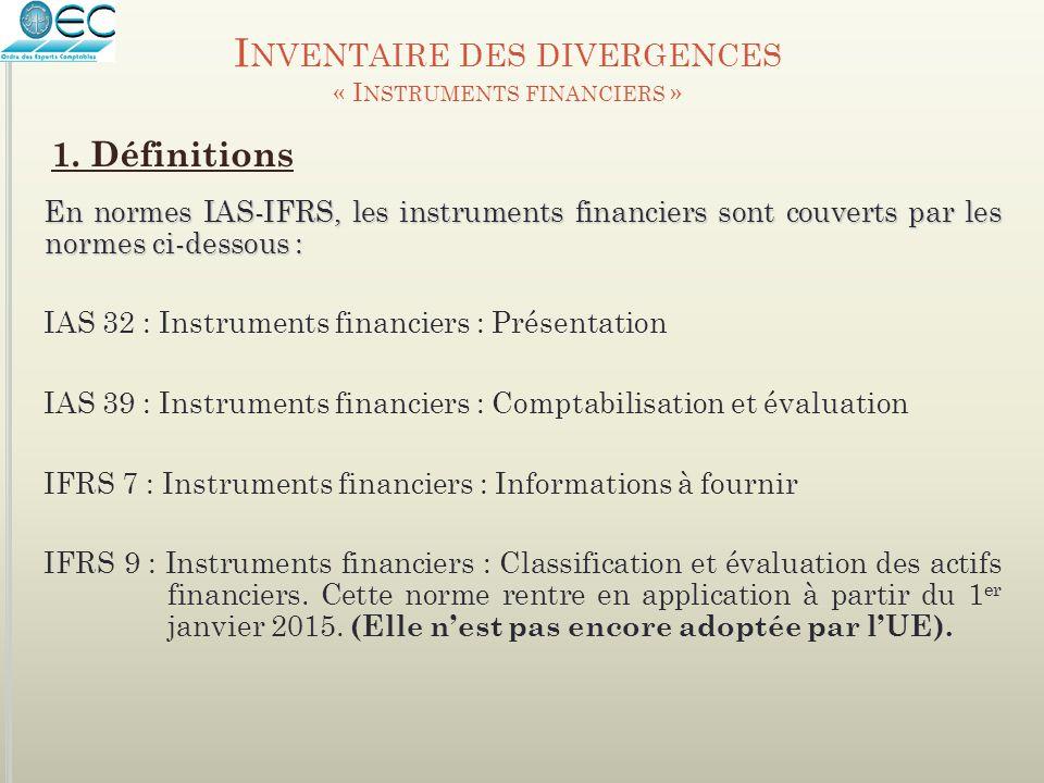 I NVENTAIRE DES DIVERGENCES « I NSTRUMENTS FINANCIERS » En normes IAS-IFRS, les instruments financiers sont couverts par les normes ci-dessous : IAS 3