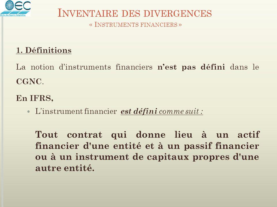 La notion d'instruments financiers n'est pas défini dans le CGNC. En IFRS, L'instrument financier est défini comme suit : Tout contrat qui donne lieu