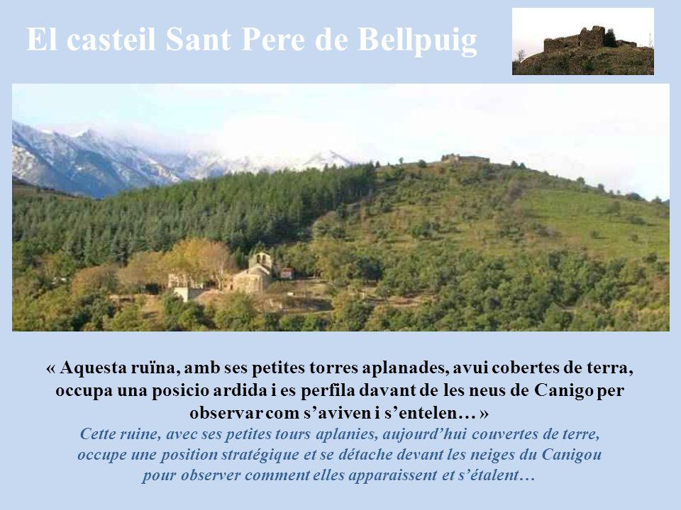 El casteil Sant Pere de Bellpuig « Aquesta ruïna, amb ses petites torres aplanades, avui cobertes de terra, occupa una posicio ardida i es perfila dav