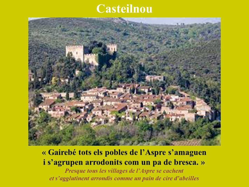 Casteilnou « Gairebé tots els pobles de l'Aspre s'amaguen i s'agrupen arrodonits com un pa de bresca. » Presque tous les villages de l'Aspre se cachen