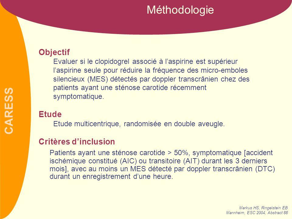 CARESS Schéma de l'étude Sténose carotidienne >50%, sympto- matique, avec au moins 1 micro-embole cérébral silencieux.