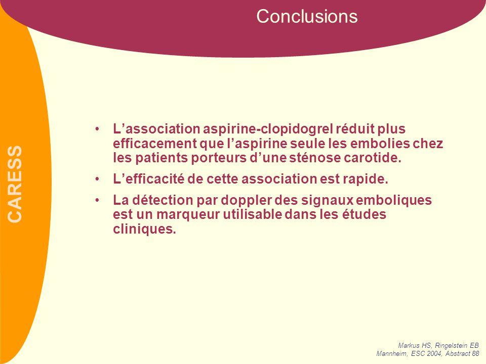 CARESS L'association aspirine-clopidogrel réduit plus efficacement que l'aspirine seule les embolies chez les patients porteurs d'une sténose carotide.