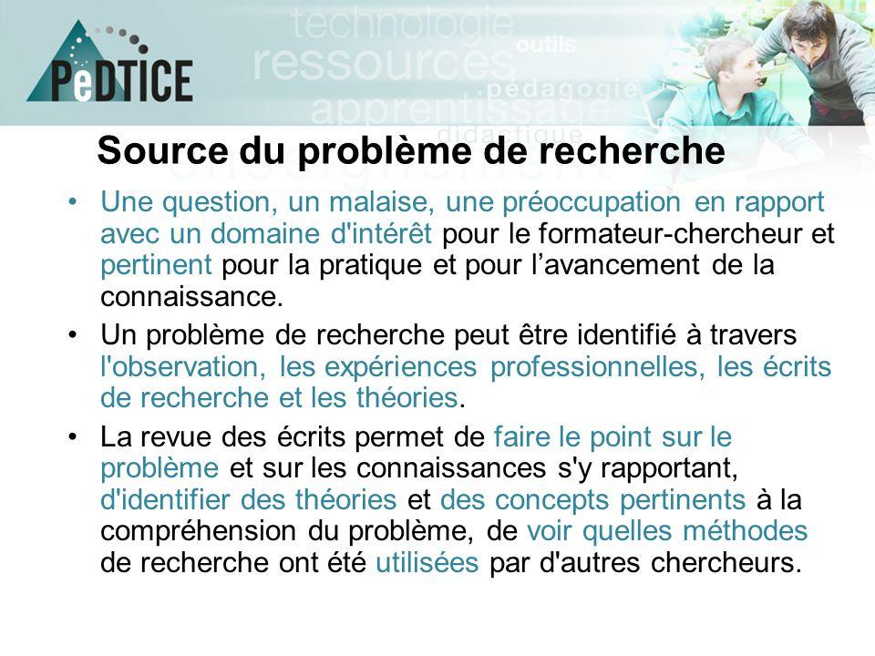 Source du problème de recherche Une question, un malaise, une préoccupation en rapport avec un domaine d'intérêt pour le formateur-chercheur et pertin