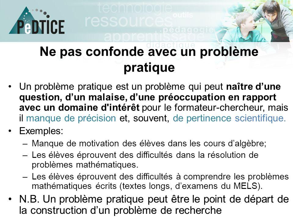 Ne pas confonde avec un problème pratique Un problème pratique est un problème qui peut naître d'une question, d'un malaise, d'une préoccupation en ra