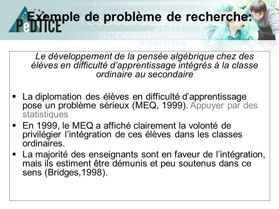 Exemple de problème de recherche: Le développement de la pensée algébrique chez des élèves en difficulté d'apprentissage intégrés à la classe ordinair