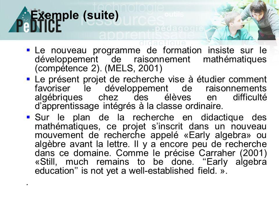  Le nouveau programme de formation insiste sur le développement de raisonnement mathématiques (compétence 2). (MELS, 2001)  Le présent projet de rec