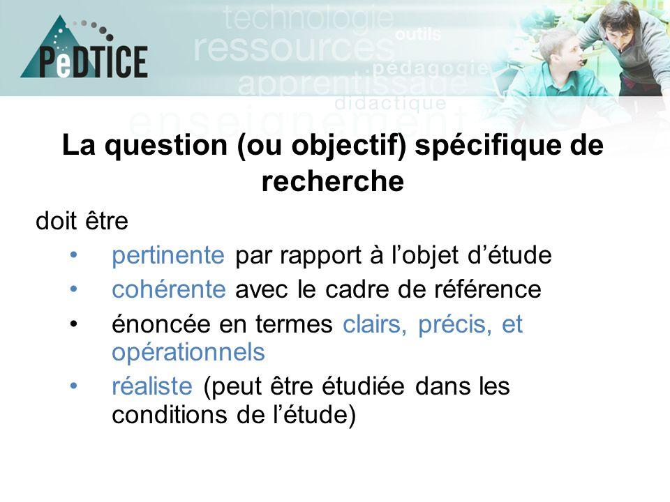 La question (ou objectif) spécifique de recherche doit être pertinente par rapport à l'objet d'étude cohérente avec le cadre de référence énoncée en t