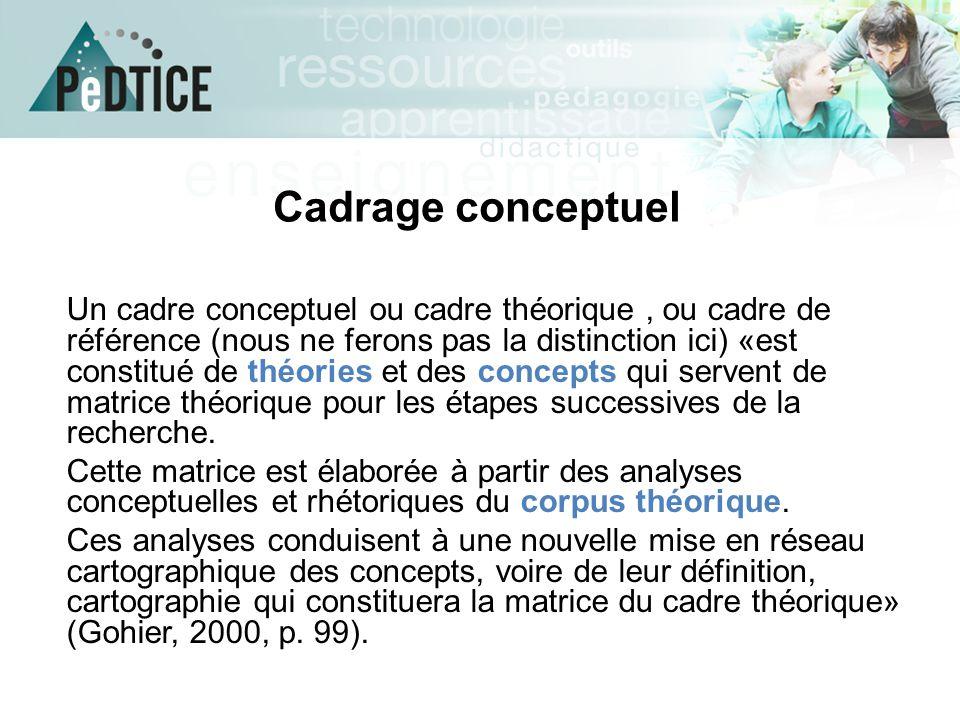 Cadrage conceptuel Un cadre conceptuel ou cadre théorique, ou cadre de référence (nous ne ferons pas la distinction ici) «est constitué de théories et