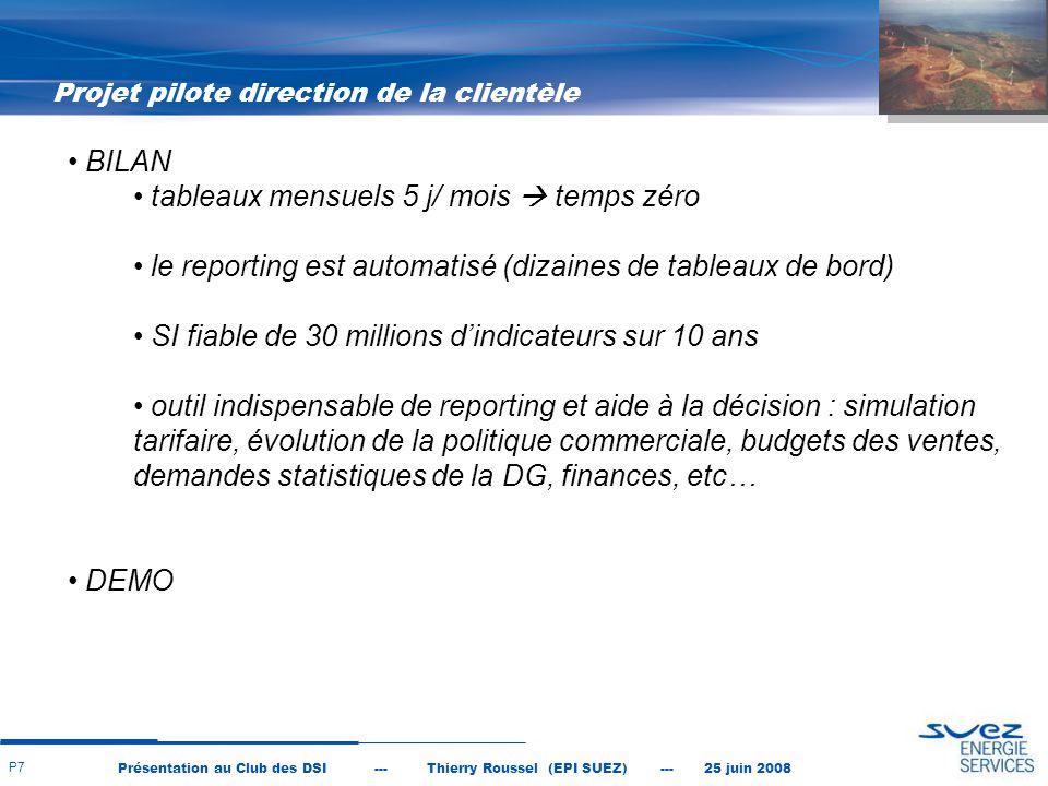 Présentation au Club des DSI --- Thierry Roussel (EPI SUEZ) --- 25 juin 2008 P8 DSI impliquée et maitrisant la modélisation de ses données Management intermédiaire (chef de service) motivé et s'impliquant Utilisateurs s'impliquant et du niveau requis en XL et outils IT Les utilisateurs ont fait l'effort d'abandonner leurs tableaux actuels pour les refaire sous COGNOS Facteurs clés de succès