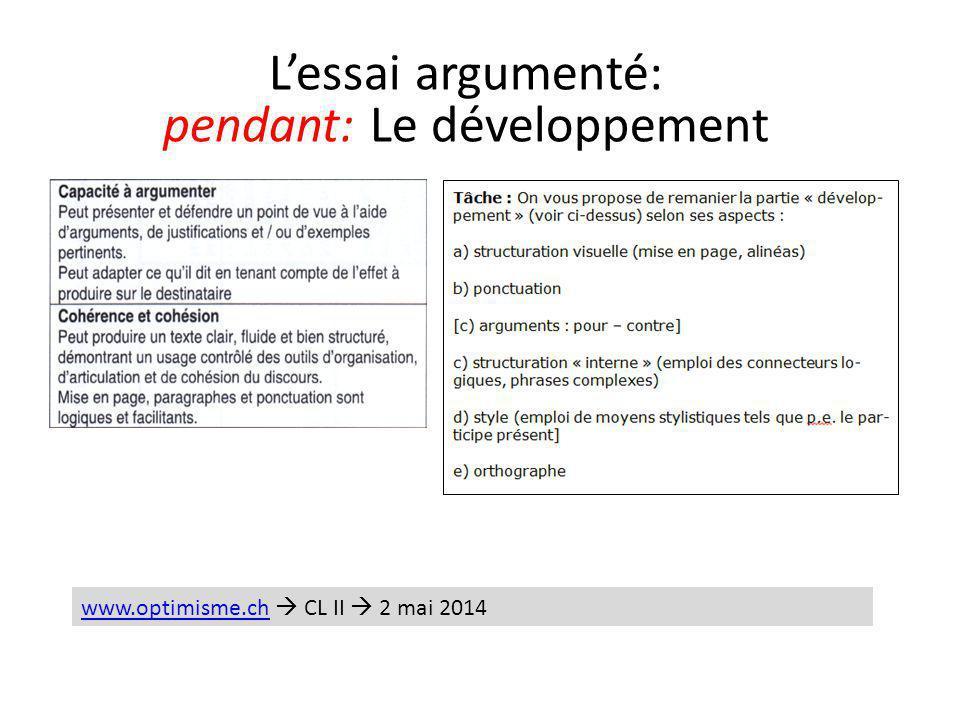 L'essai argumenté: pendant: Le développement www.optimisme.chwww.optimisme.ch  CL II  2 mai 2014