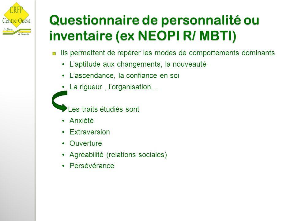Questionnaire de personnalité ou inventaire (ex NEOPI R/ MBTI) Ils permettent de repérer les modes de comportements dominants L'aptitude aux changemen