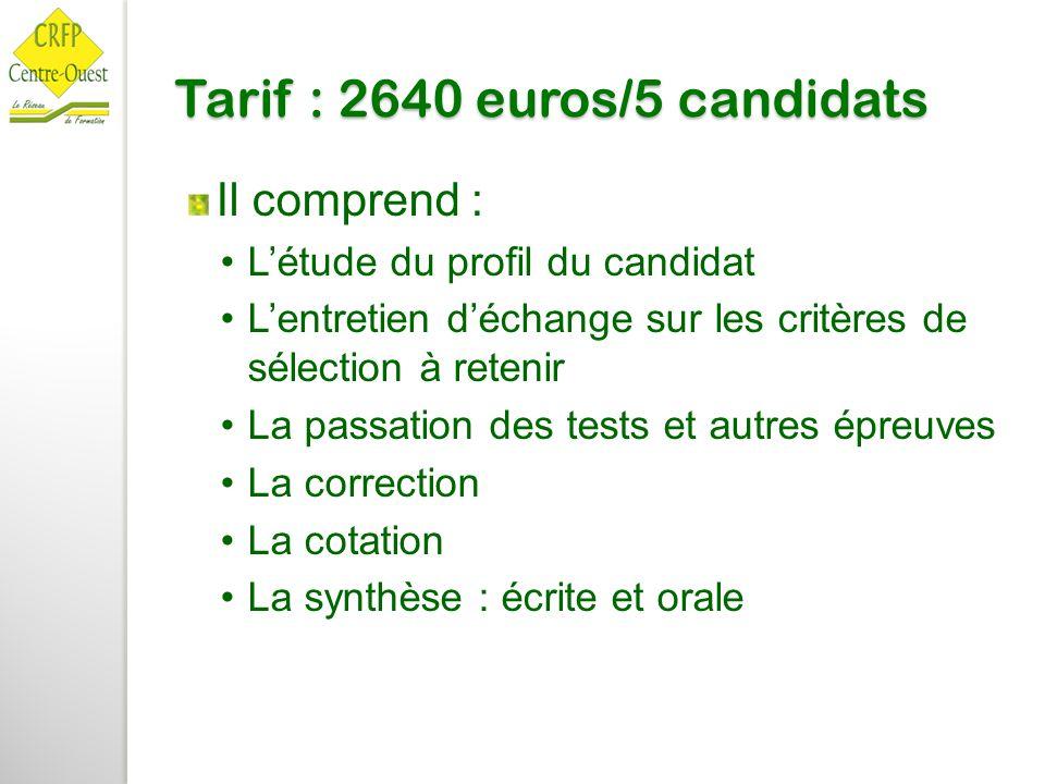 Tarif : 2640 euros/5 candidats Il comprend : L'étude du profil du candidat L'entretien d'échange sur les critères de sélection à retenir La passation