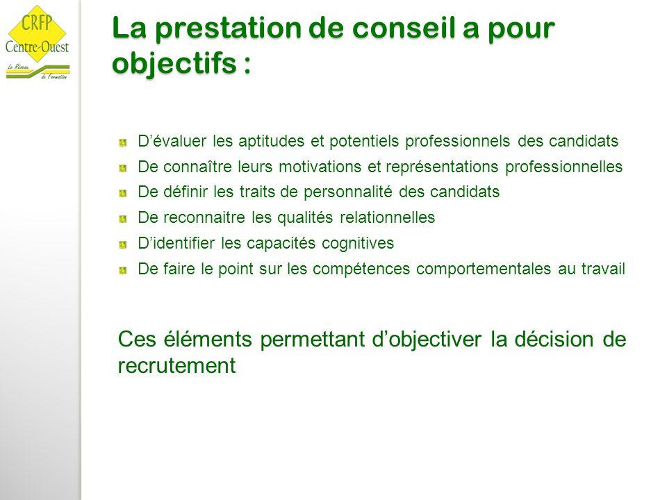 La prestation de conseil a pour objectifs : D'évaluer les aptitudes et potentiels professionnels des candidats De connaître leurs motivations et repré