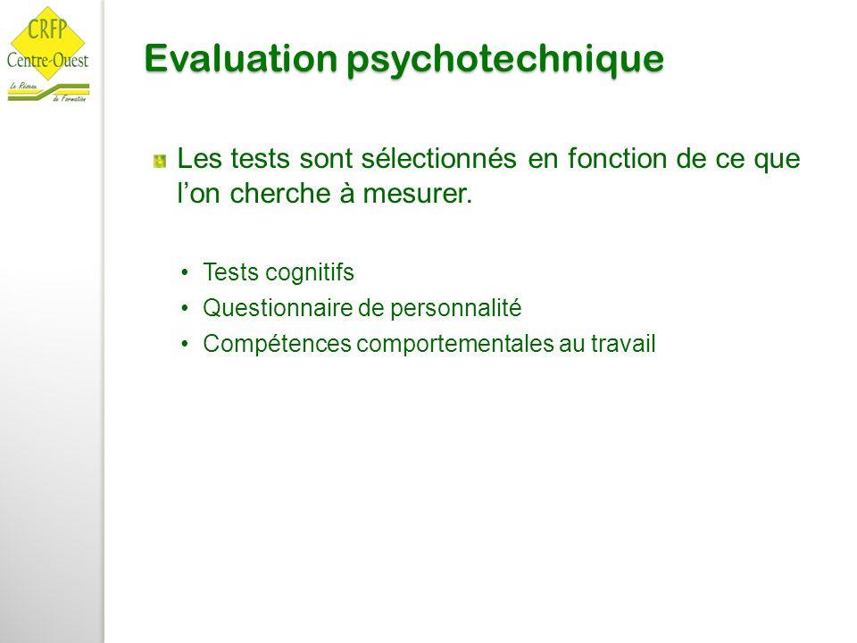 Evaluation psychotechnique Les tests sont sélectionnés en fonction de ce que l'on cherche à mesurer. Tests cognitifs Questionnaire de personnalité Com