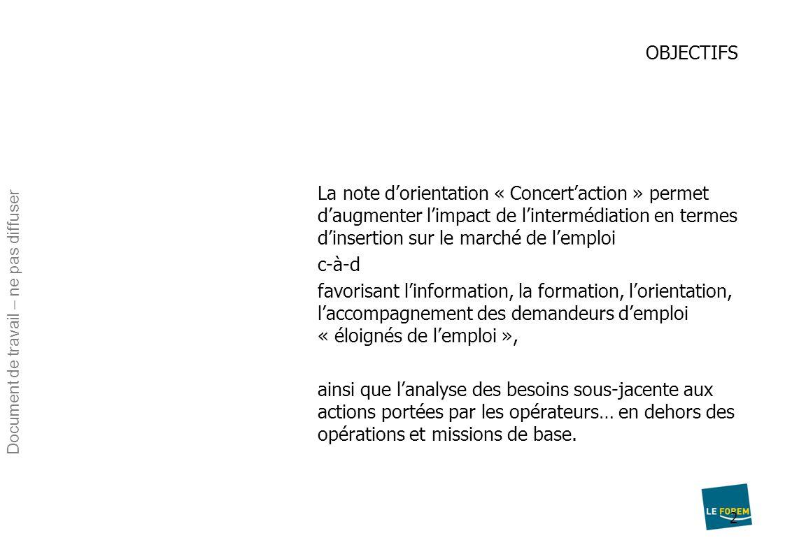 2 OBJECTIFS La note d'orientation « Concert'action » permet d'augmenter l'impact de l'intermédiation en termes d'insertion sur le marché de l'emploi c