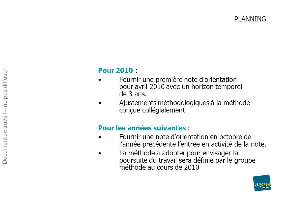 3 PLANNING Pour 2010 : Fournir une première note d'orientation pour avril 2010 avec un horizon temporel de 3 ans. Ajustements méthodologiques à la mét