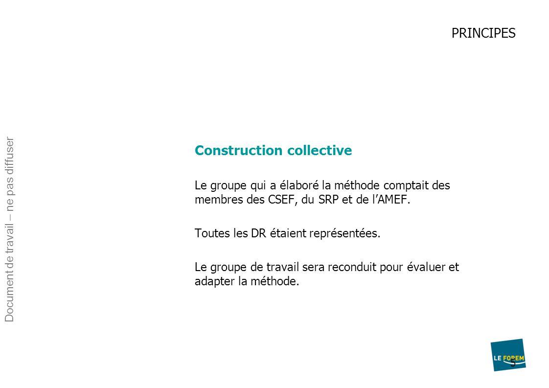 5 PRINCIPES Construction collective Le groupe qui a élaboré la méthode comptait des membres des CSEF, du SRP et de l'AMEF. Toutes les DR étaient repré