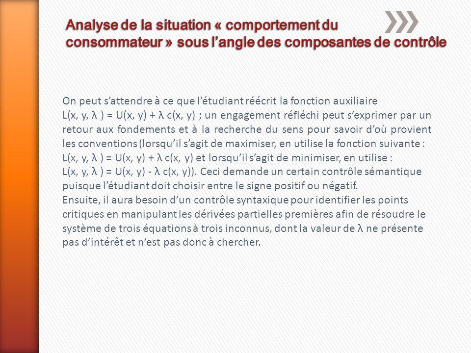 On peut s'attendre à ce que l'étudiant réécrit la fonction auxiliaire L(x, y, λ ) = U(x, y) + λ c(x, y) ; un engagement réfléchi peut s'exprimer par u