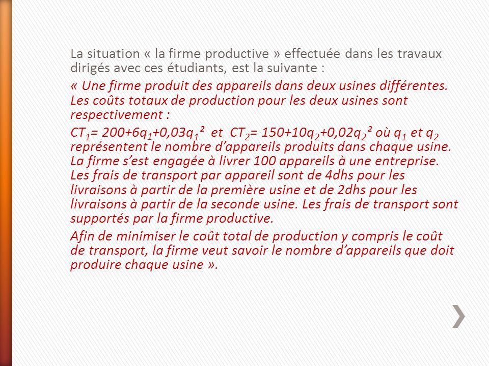 La situation « la firme productive » effectuée dans les travaux dirigés avec ces étudiants, est la suivante : « Une firme produit des appareils dans d