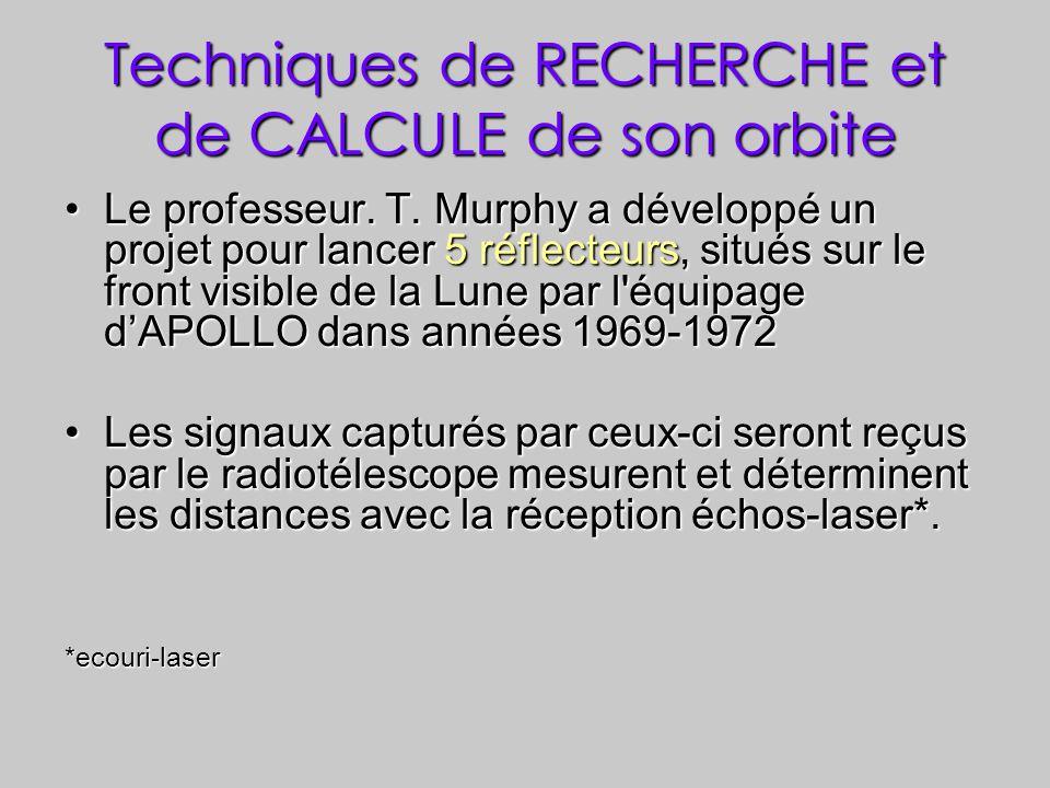 Techniques de RECHERCHE et de CALCULE de son orbite Le professeur. T. Murphy a développé un projet pour lancer 5 réflecteurs, situés sur le front visi