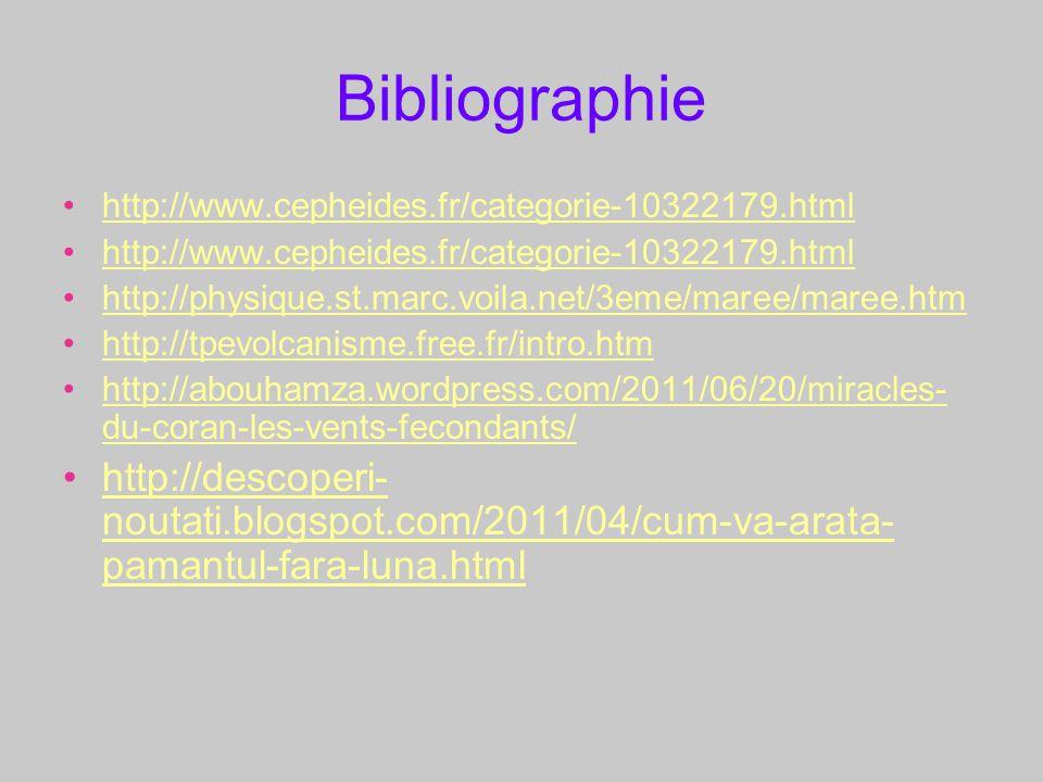 Bibliographie http://www.cepheides.fr/categorie-10322179.html http://physique.st.marc.voila.net/3eme/maree/maree.htm http://tpevolcanisme.free.fr/intr
