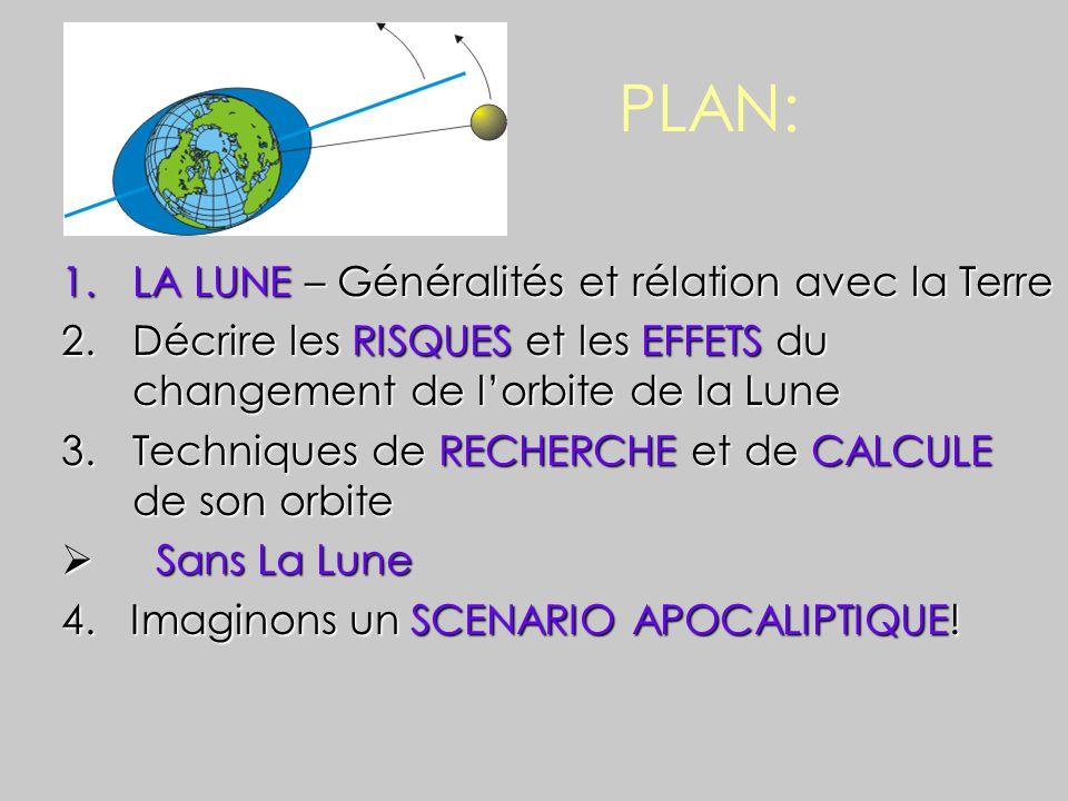 PLAN: 1.LA LUNE – Généralités et rélation avec la Terre 2.Décrire les RISQUES et les EFFETS du changement de l'orbite de la Lune 3.Techniques de RECHERCHE et de CALCULE de son orbite  Sans La Lune 4.