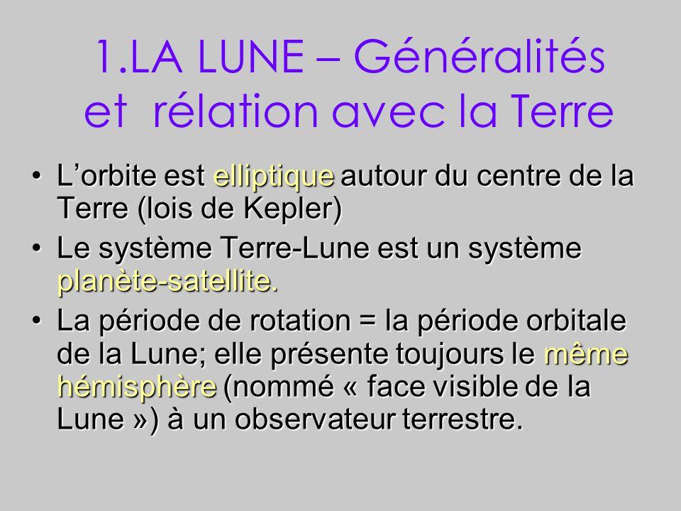 1.LA LUNE – Généralités et rélation avec la Terre L'orbite est elliptique autour du centre de la Terre (lois de Kepler)L'orbite est elliptique autour du centre de la Terre (lois de Kepler) Le système Terre-Lune est un système planète-satellite.Le système Terre-Lune est un système planète-satellite.