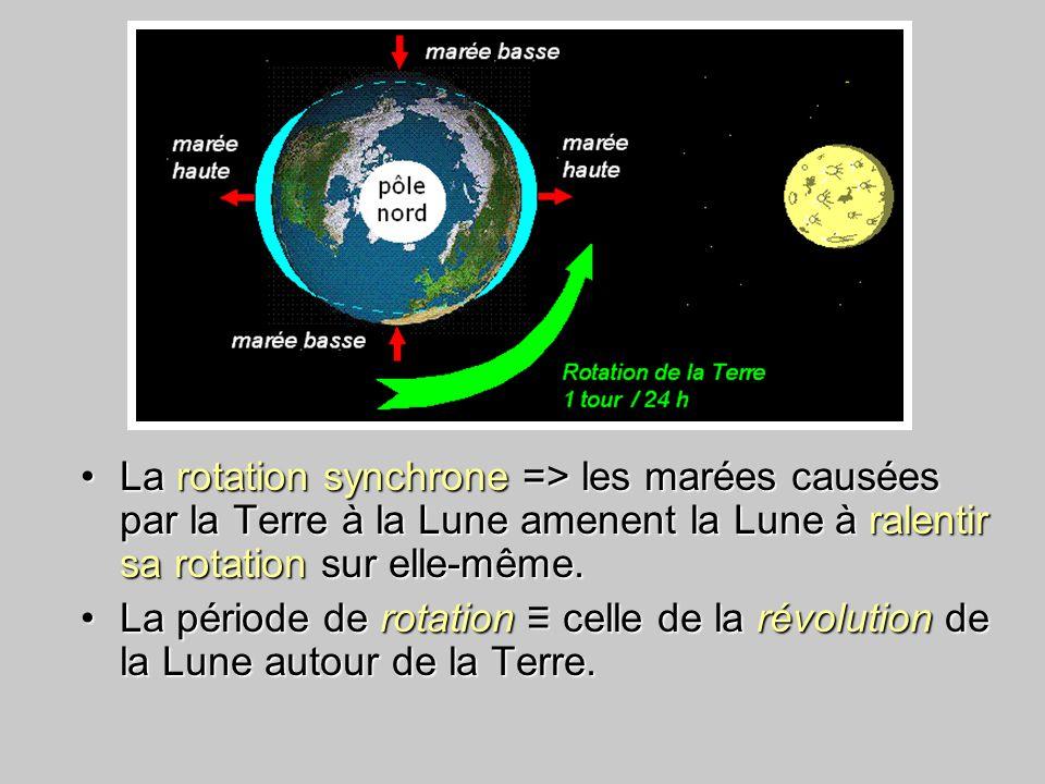 La rotation synchrone => les marées causées par la Terre à la Lune amenent la Lune à ralentir sa rotation sur elle-même.La rotation synchrone => les marées causées par la Terre à la Lune amenent la Lune à ralentir sa rotation sur elle-même.