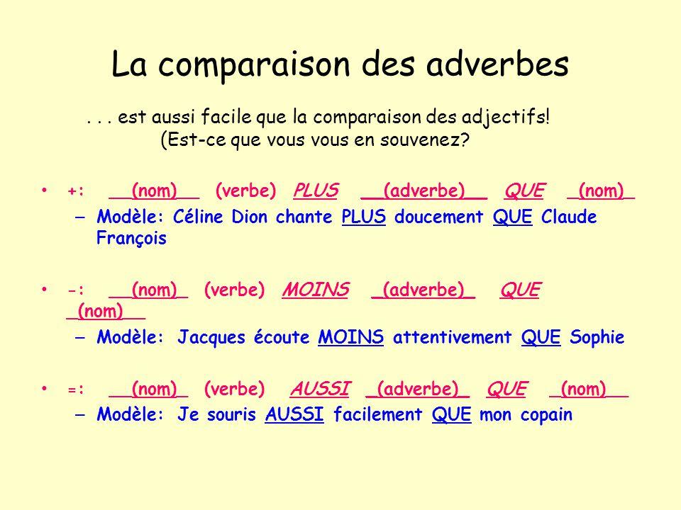La comparaison des adverbes +:__(nom)__ (verbe) PLUS __(adverbe)__ QUE _(nom)_ – Modèle: Céline Dion chante PLUS doucement QUE Claude François -:__(no