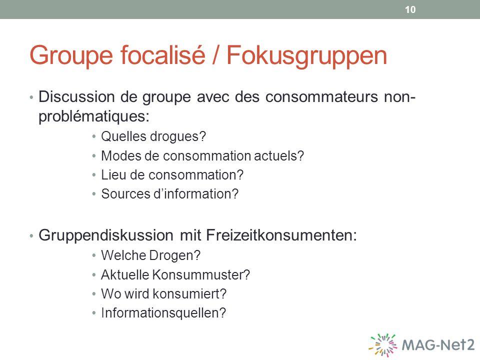 Groupe focalisé / Fokusgruppen Discussion de groupe avec des consommateurs non- problématiques: Quelles drogues.