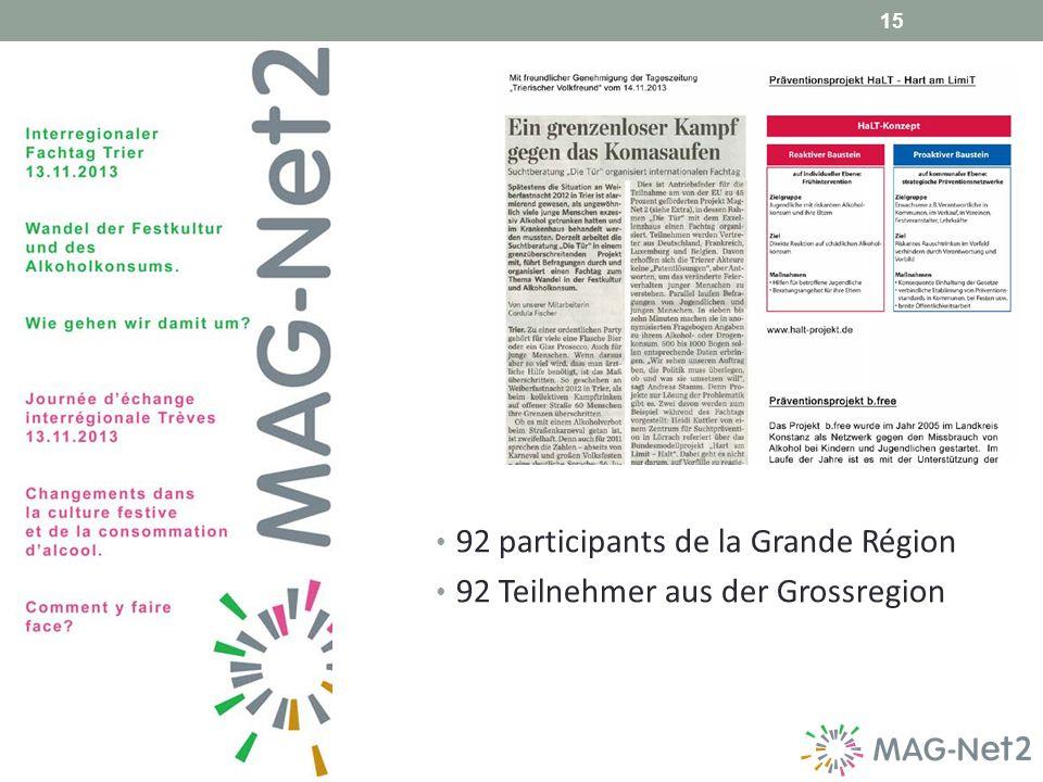 15 92 participants de la Grande Région 92 Teilnehmer aus der Grossregion