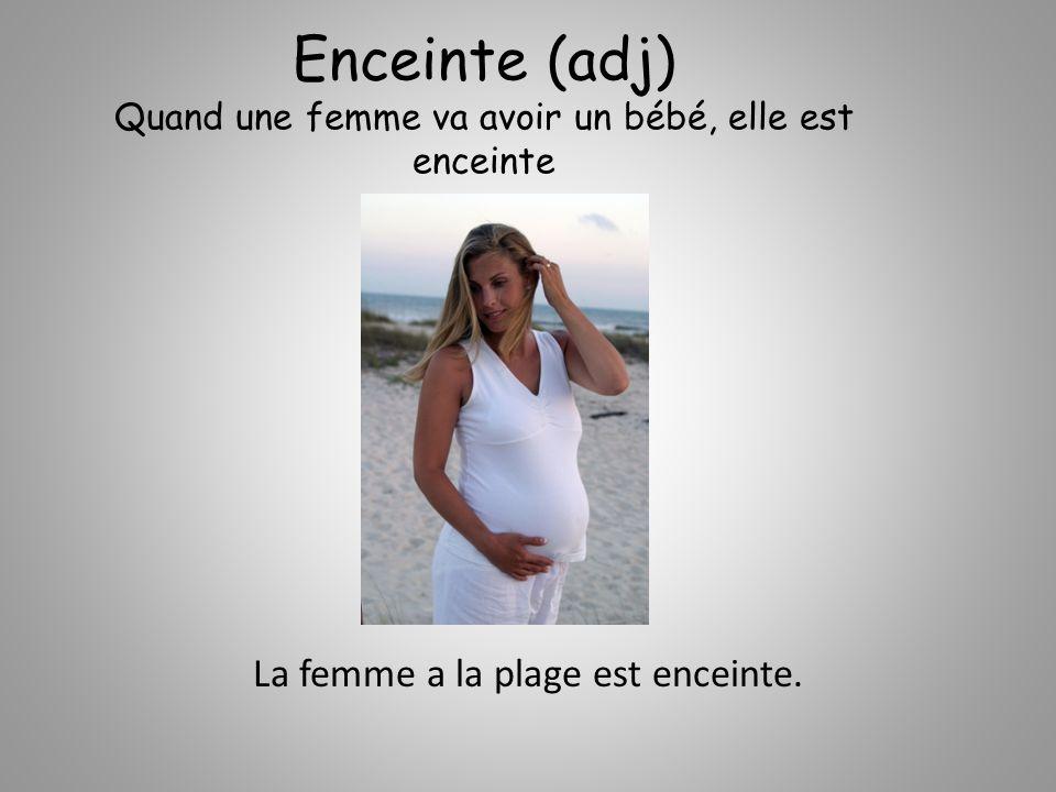 Enceinte (adj) Quand une femme va avoir un bébé, elle est enceinte La femme a la plage est enceinte.
