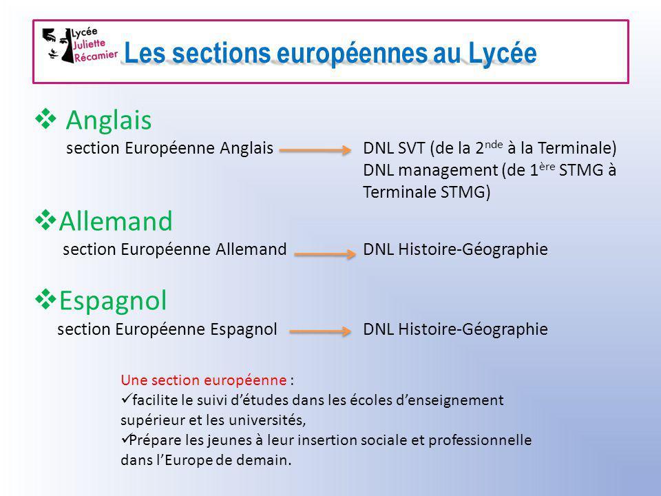 Les sections européennes au Lycée  Anglais section Européenne AnglaisDNL SVT (de la 2 nde à la Terminale) DNL management (de 1 ère STMG à Terminale S