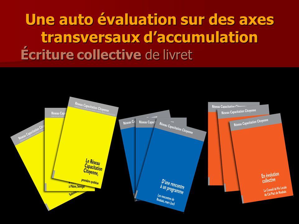 Une auto évaluation sur des axes transversaux d'accumulation Écriture collective de livret