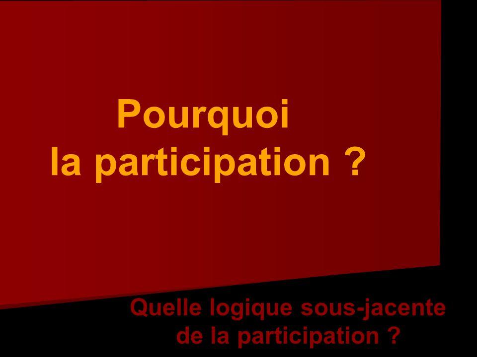 Pourquoi la participation Quelle logique sous-jacente de la participation