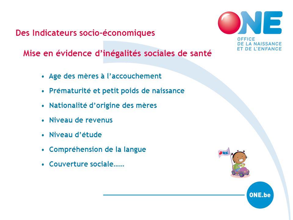 Des Indicateurs socio-économiques Mise en évidence d'inégalités sociales de santé Age des mères à l'accouchement Prématurité et petit poids de naissan