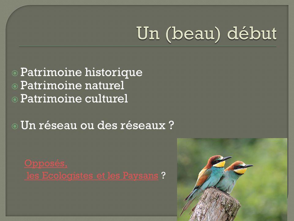  Patrimoine historique  Patrimoine naturel  Patrimoine culturel  Un réseau ou des réseaux .