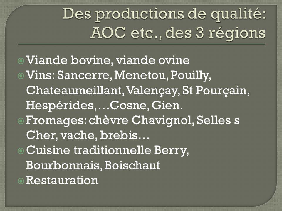  Viande bovine, viande ovine  Vins: Sancerre, Menetou, Pouilly, Chateaumeillant, Valençay, St Pourçain, Hespérides,…Cosne, Gien.