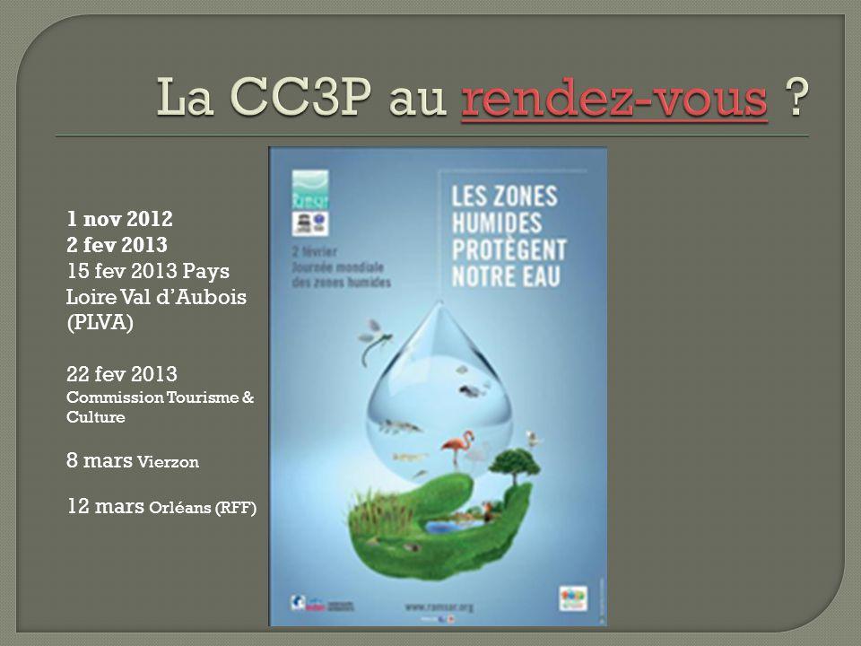 1 nov 2012 2 fev 2013 15 fev 2013 Pays Loire Val d'Aubois (PLVA) 22 fev 2013 Commission Tourisme & Culture 8 mars Vierzon 12 mars Orléans (RFF)