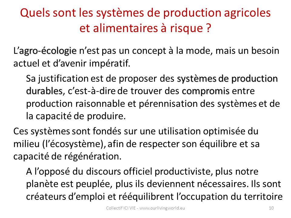 Quels sont les systèmes de production agricoles et alimentaires à risque ? agro-écologie L'agro-écologie n'est pas un concept à la mode, mais un besoi
