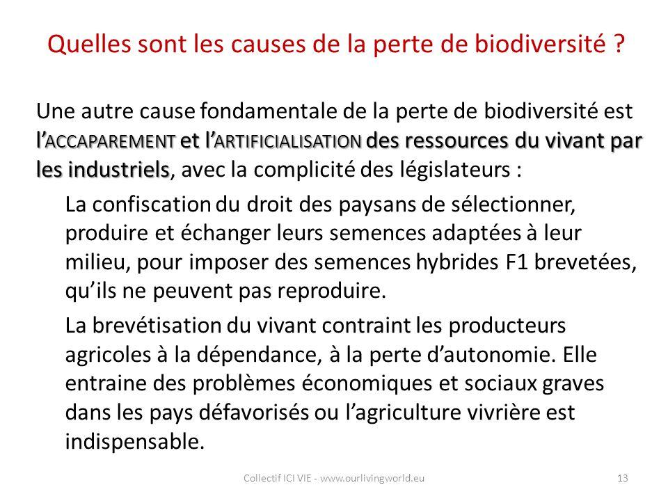 Quelles sont les causes de la perte de biodiversité ? l' ACCAPAREMENT et l' ARTIFICIALISATION des ressources du vivant par les industriels Une autre c
